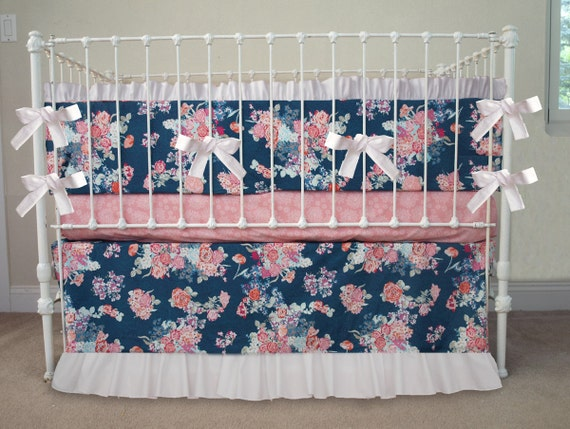 pink and navy baby girl bedding navy white pink floral baby. Black Bedroom Furniture Sets. Home Design Ideas