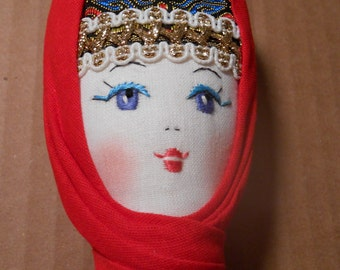 ETHNIC Cloth Doll Embroidered Face 14""