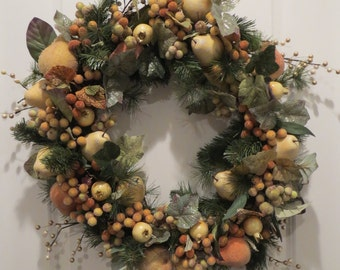 Sugared Fruit Wreath, Frosted Fruit, Holiday Door Wreath, winter Wreath, Door Decor, Grapevine Wreath FREE SHIP