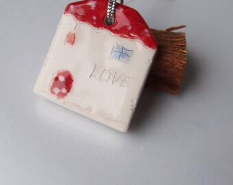 LOVE Ornament Ceramic houses, Gift tag, Christmas tree decor, Decoration, Living room decor, home decor, White Glazed Ceramics ornament