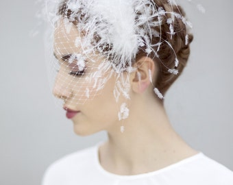 Feather Birdcage Veil, Feathered Halo with Veiling, Glam White Fascinate - Belle