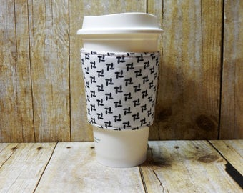 Fabric Coffee Cozy / Patterned Black and White Coffee Cozy / Coffee Cozy / Tea Cozy