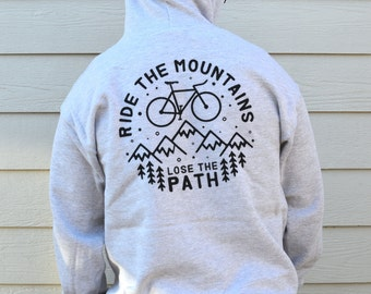 Ride The Mountain Bike Hoodie, Mens Premium Bicycle Hoody, Available in S, M, L And XL