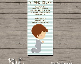 Boy First Communion Printable Bookmark 1st Communion Favor Thank You Communion Bookmark Digital File