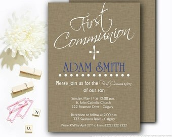 First Communion Invitation - Boys First Communion Invitation - First Communion Invitations to print - Brown Communion Invite