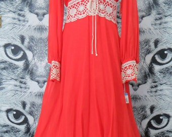 60s / 70s Red Maxi Dress / New Old Stock / M / L