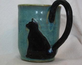 Whimsical Black Cat Mug #13