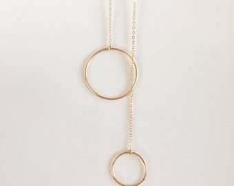 14kt Gold Filled Y Circle Lariat, Gold Y Lariat Necklace, Gold Delicate Y Necklace, Bohemian Y Necklace