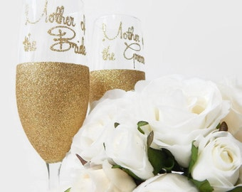 Mother of Bride Mother of Groom Personalized Gold Glitter Glass Champagne Toasting Flutes Gold Wedding Champagne Gifts and Mementos