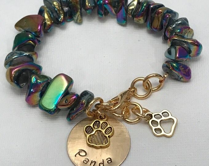 Rainbow bridge pet loss Memorial bracelet ~ quartz ~ brass name charm