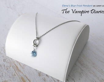 As Seen On The Vampire Diaries Elena's Blue Frost Crystal Pendant - Blue Crystal Necklace- Stainless Steel Necklace - Steel Pendant  TVD