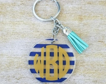 Monogram keychain, tassel keychain, monogram keychain with tassel, monogram tassel keychain, acrylic keychain, gift for her, circle mongoram