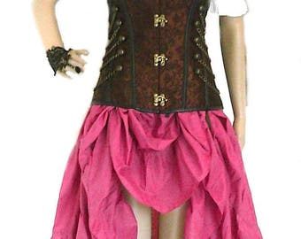 RENAISSANCE STEAMPUNK Skirt 100% Cotton Hand Dyed Pirate VICTORIAN Costume Medieval Raspberry or  Color Choice