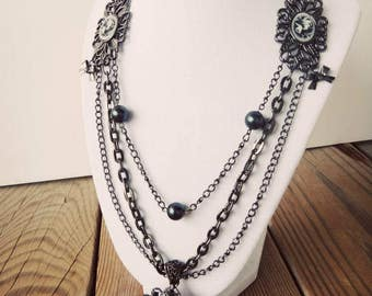 Pearl and Bead Necklace_Victorian Cameo Charm_Multi Strand_ by Crystal Cox OOAK