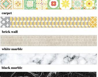 Home Decor Washi tape//Marble Decor washi tape//Ceramic tile washi tape//Brick wall washi tape//Carpet tiles washi tape//size:15mmX7M