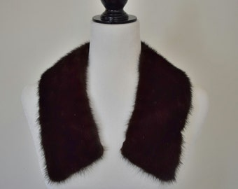 60's Dark Brown Mink Fur Collar