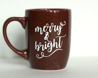 Merry & Bright 12 oz Dark Red Mug