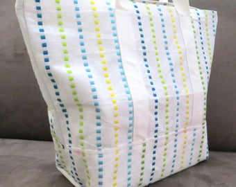 Colorful stripes tote bag, cotton bag, reusable grocery bag, Green Market bag, Knitting bag, Project bag
