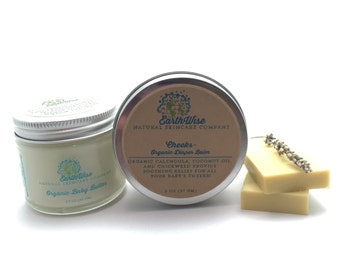 Organic All Natural Skincare Set For Babies! Castile Soap, Baby Butter, and Cheeks Diaper Cream! No Synthetic Chemicals!