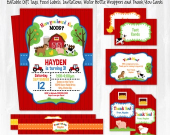 Farm Birthday Party Invitations - Farm Party - Farm Food Labels - Farm Invitations - Farm Thank You Cards - INSTANT DOWNLOAD! Edit NOW!