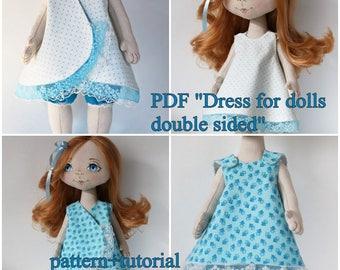 PDF,dress for doll,pattern+tutorial,Cloth Doll Pattern,PDF Sewing Tutorial,Soft Doll Pattern