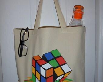 Melting Rubix Cube Heavy Duty Canvas Tote Bag