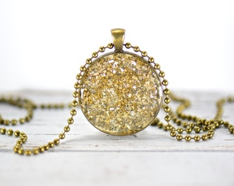 Gold Glitter Sparkle Pendant Necklace, Charm Necklace, Bezel Pendant, Round Pendant, Made in USA
