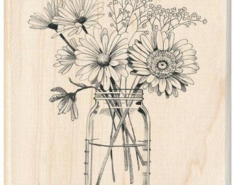 Rubber Stamp with Floral Mason Jar