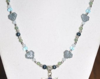 Necklace Sterling Silver 925 Pendant Butterfly Leaf Blue Aqua Chalcedony Aquamarine Tanzanite Moonstone Crystal Pearlized Glass 18in #370217