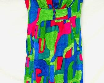 Vtg 60s Abstract Hawaiian Maxi Dress Womens Psychedelic Aloha Sleeveless 1960s Clothing Blue Pink Green Noelani Casuals Tsuru