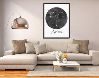 Aries Constellation Print, Zodiac Sign, Astronomy Decor, Constellation Map, Aries Zodiac Print, Birthday Gift, Aries Sign, Aries Symbol