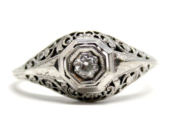 14k Art Deco Filigree White Gold Diamond Solitaire Ring Antique Engagement Ring