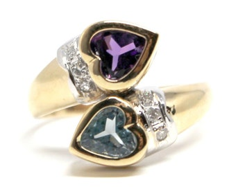 Amethyst and Blue Topaz Yellow Gold Ring Diamonds Engagement Christmas Hearts