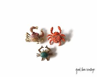 Crab Brooch Pin Baltimore Maryland Costume Jewelry Crustacean Ocean Sea Beach WRE Jade Scarab
