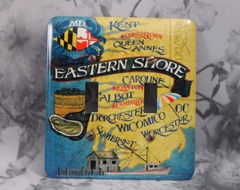 Metal Maryland Double Toggle Light Switch Cover - Maryland Eastern Shore - 2T Double Toggle