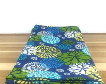 cloth napkins in blue and green floral print - 19 x 19 inches - set of two