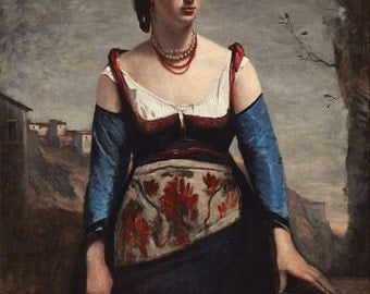 "Camille Corot : ""Agostina"" (1866) - Giclee Fine Art Print"