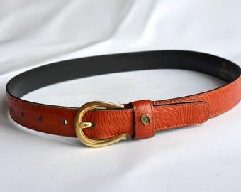 Chic Etienne Aigner Skinny Leather Belt, Designer Monogram Embossed Cognac Waist Belt, Classic Golden Buckle Slim Leather Belt