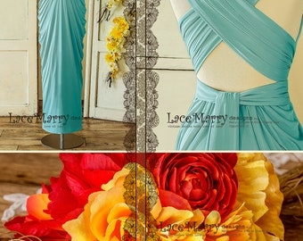 Tiffany Blue Bridesmaid Dress with Convertible Straps in Floor Length with Multi Folded Skirt in Greek Goddess Style | Sky Blue Prom Dress