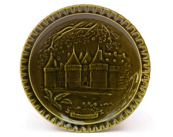 Vintage French Chaumont Castle Wall Plate. Green Majolica Plate.