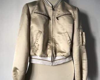 90s Vintage Dolce Gabbana Beige Bomber/ D&G cream Jacket / size M