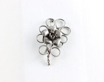 Sterling Silver Flower Pin Brooch