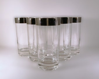 Dorothy Thorpe Silver Band Highball Glasses Set of 5 Mad Men Drinking Glasses