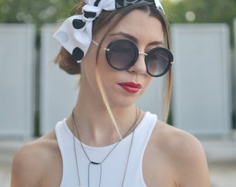 Polka Dot Turban, Workout Head Scarf, White Headband, Headband Adult, Woman Top Knot, Cotton Head Wrap, Pin Up Headband, Bow Headband, Gift