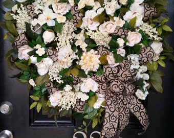 Extra Large Elegant Year Round Spring Summer Grapevine Door Wreath Cream Black Floral Wedding Decor Burlap Ribbon Wreath