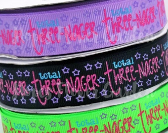 """3rd Birthday Ribbon 3 Yards 7/8"""" Birthday Ages Collection """"THREEnager"""" 3rd Birthday YOU Pick Ribbon Color  High Quality Grosgrain Ribbon"""