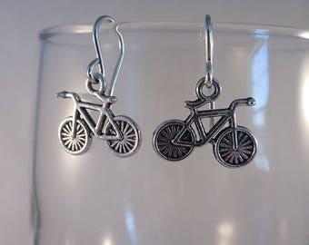 Bicycle Earrings/Bike Rider Earrings with Sterling Silver Ear Wires