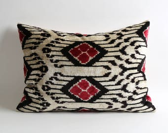 Velvet ikat lumbar pillow 16x22 Boho Lumbar Pillow Luxury Velvet Pillow Red, black & white Velvet Lumbar Cushion