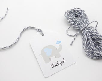 """12 Elephant Gift Tags w/ Twine, (2"""" x 1.5"""" Tags) Personalized Elephant theme party favor tags, Light Blue Baby Shower Favor tags"""
