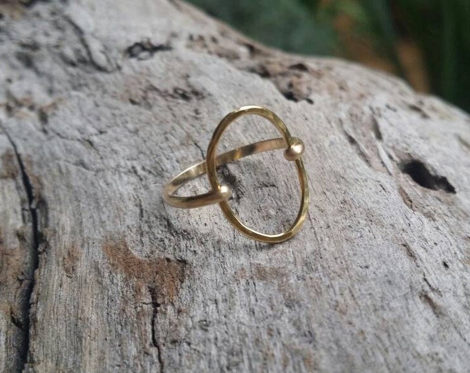 Dainty Ring, Circle Ring, Gold Ring, Hammered, Simple, Tiny Ring, Gold Fill